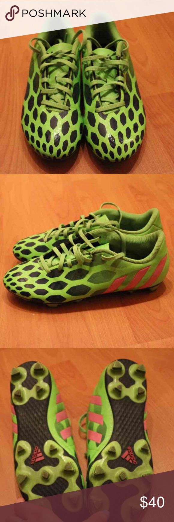Adidas Women Predator soccer cleats Have been worn less than ten times. Obvious wear, otherwise there is nothing wrong with them. I have no use for them since I finished soccer.  Women's size 10 Adidas Shoes Athletic Shoes