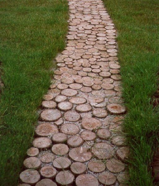 Paving slabs slice the trunk up into 3inch thick discs and lay them together to create a - Slab pathway design ideas ...