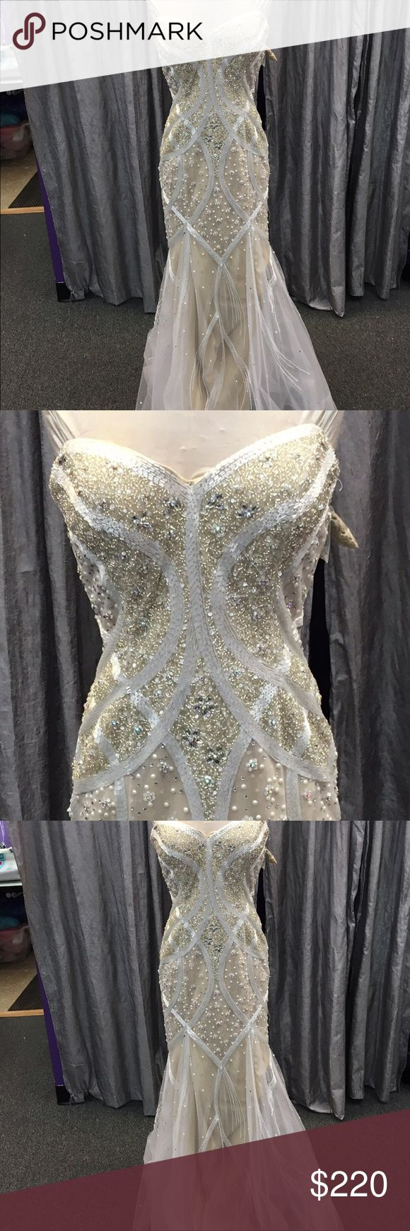 Panoply fully beaded gown Champagne gown with white beading and tulle on bottom. Great condition. panoply Dresses Prom