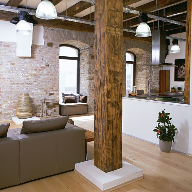 Best Exposed Brick Walls Images On Pinterest Bricks Dining - Contemporary soho loft with exposed brick and wood beams