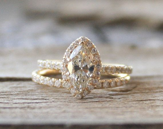 1.60 Ct. Marquise Diamond Engagement Ring Set in 14K Yellow Gold on Etsy, $4,450.00