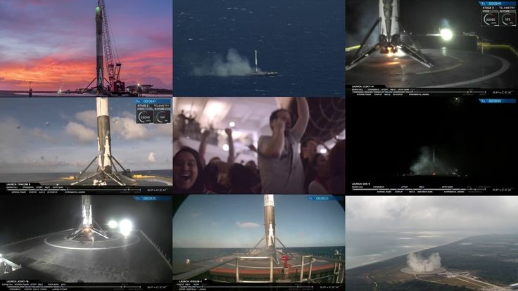 [OC] [4K] I made a video showing all 8 of the SpaceX landings at once