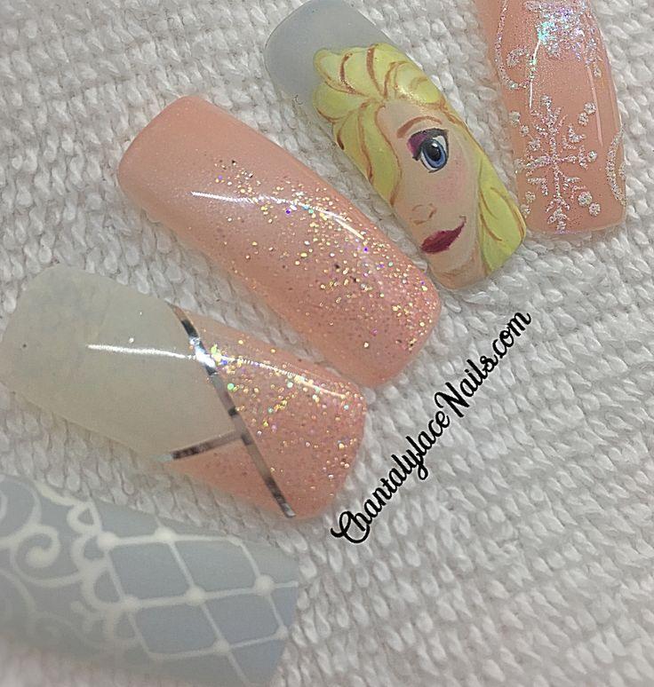 Frozen nail art, Elsa nail art