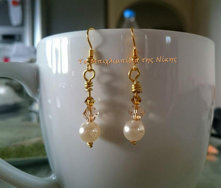 Σκουλαρίκια από συνθετικές πέρλες και κρύσταλλα Τσεχίας, δύο ειδών..!!