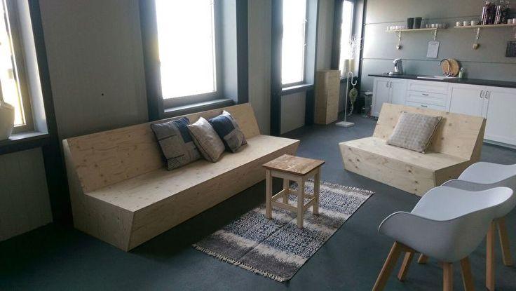 Constructieplaat banken   meubels van underlayment op maat gemaakt   bank   VanStoerHout
