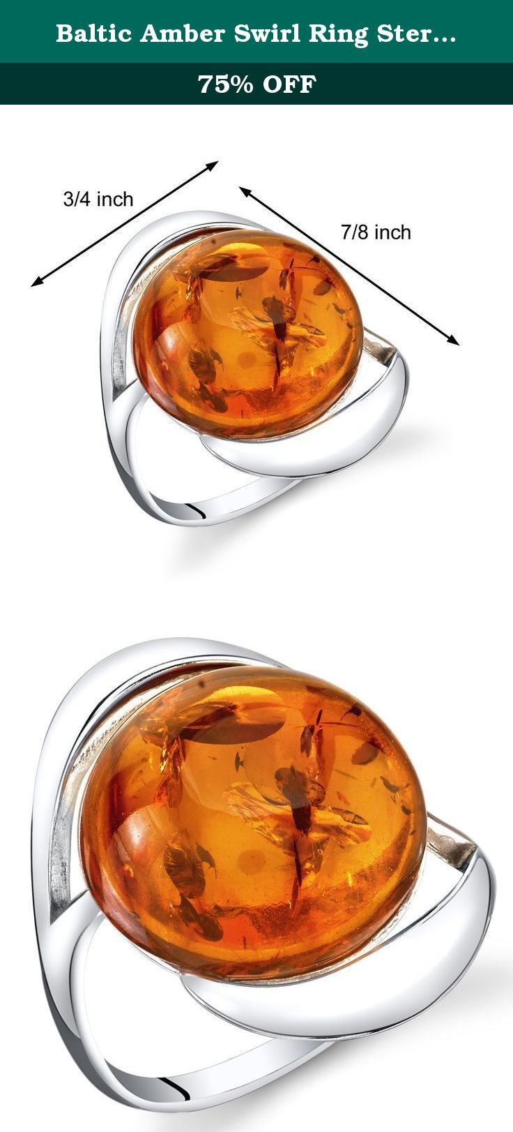 Baltic Amber Swirl Ring Sterling Silver Cognac Color Large Round Shape Size 6. Genuine Baltic Amber, Rich Cognac Color, large round shape. Ring: 2.6 grams pure 925 sterling silver, Available in sizes 5 to 9. Ring features exceptional design, craftsmanship and finishing. Perfect gift for Mothers Day, Birthdays, Valentines Day, Graduation, Christmas or just about any other occasion. Money Back Guarantee. Includes a Signature Gift Box. Style SR11310.