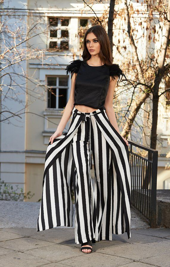 d0ebec5a6b448b Striped Pants, Plus Size Pants, Steampunk Clothing, Black White Pants,  Futuristic Clothing, Gothic