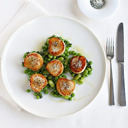 Gordon Ramsay's Seared Scallops With Minted Peas And Beans. For the full recipe, click the picture or visit RedOnline.co.uk