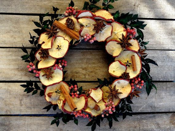 10 Dried Apple Wreath  Kitchen Wreath  Dried Fall by SteliosArt
