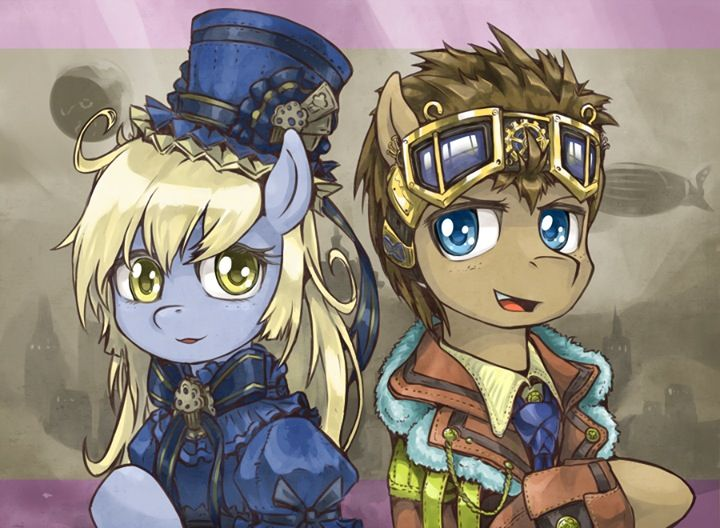 Steampunk Derpy and Doctor Whooves