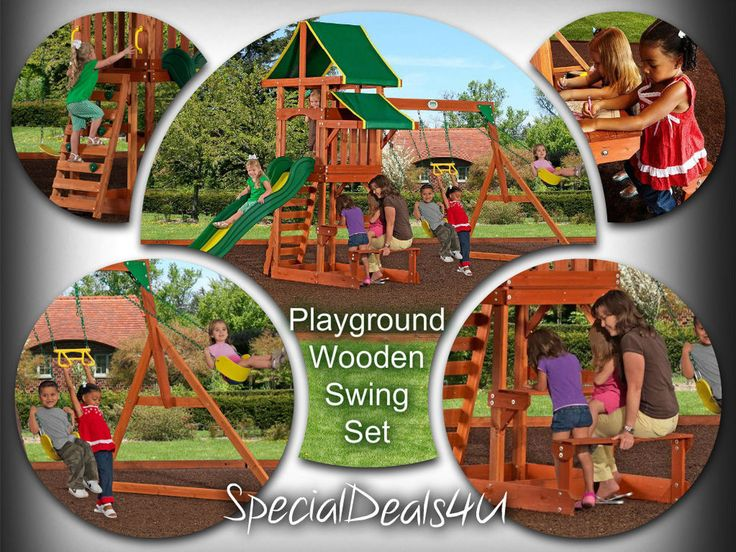 Playground Wooden Swing Set Outdoor Play Backyard Playset Slide Kids Lawn New #SpecialDeals4U