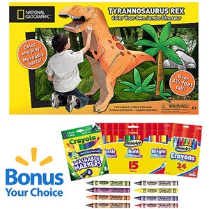 National Geographic Corrugated Cardboard Tyrannosaurus Rex with Bonus Markers or Crayons