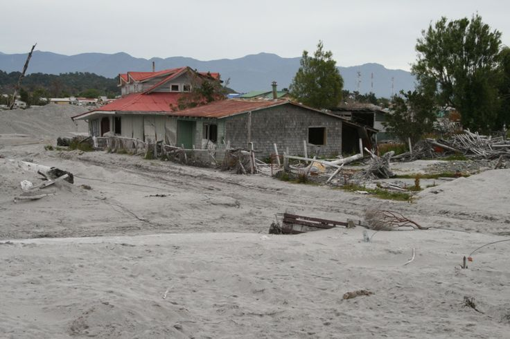 Chaiten, Chile in early 2009, with volcanic ash deposits washed in from the nearby volcanic eruption.