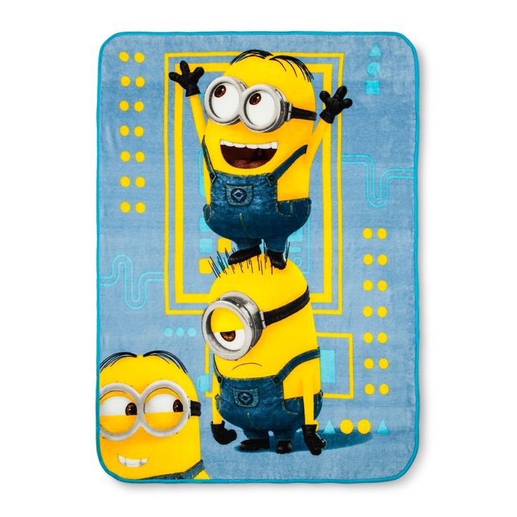 """Despicable Me 3 Minions Blue & Yellow Throw Blanket (46""""x60"""")"""