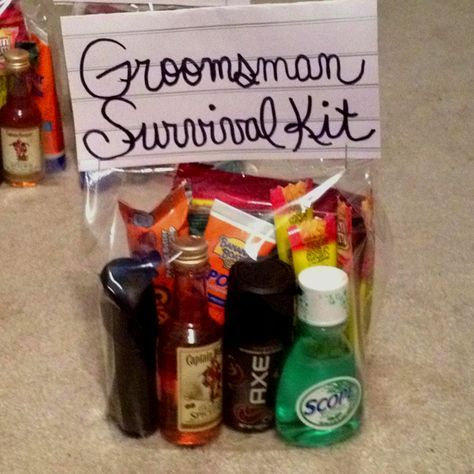 Groomsmen survival kits! always thought of this for bridesmaids not Groomsmen. Love this idea.