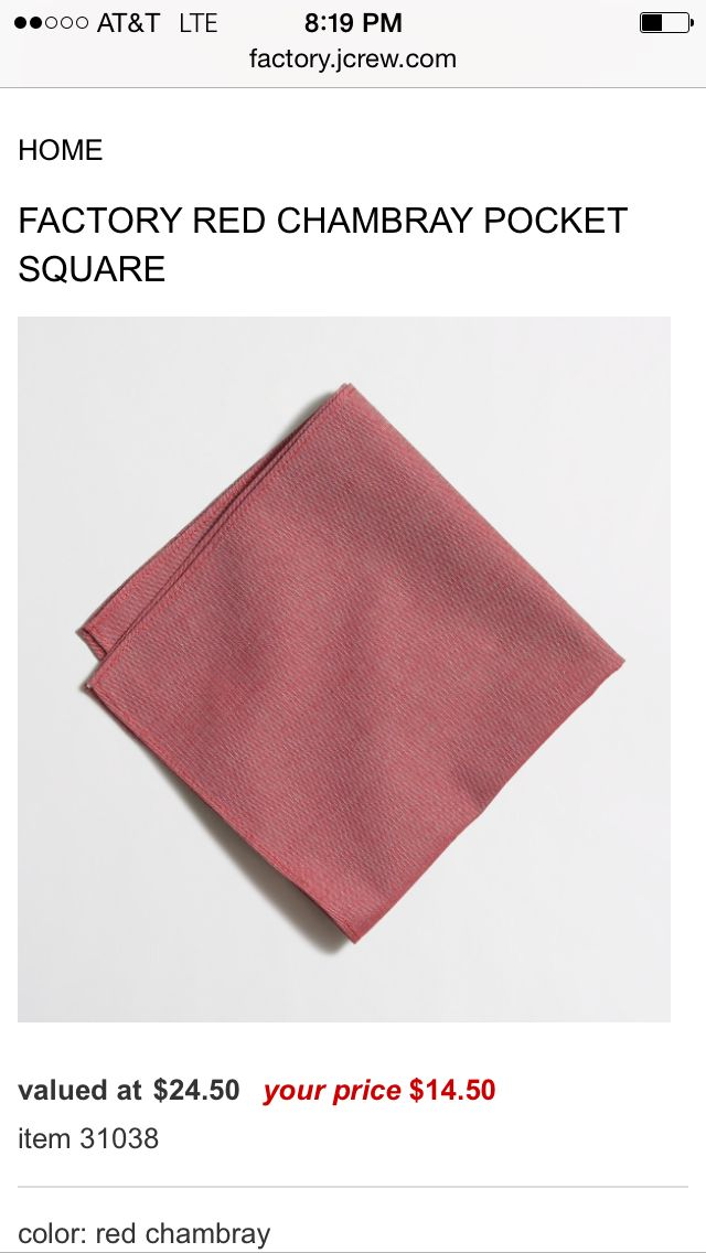 Red JCrew chambray pocket square