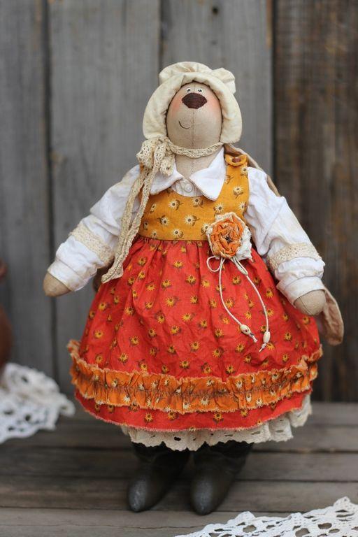 """Купить Игрушка интерьерная """"Зайка английская леди"""" - оранжевый, игрушка ручной работы, интерьерная игрушка"""