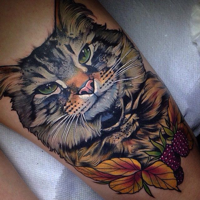 Charming cat portrait by Aniela Dahlgren aka @fruduva! Check out HTTPS://SAVEMYINK.COM/PHOTOS For your daily cattoo inspiration! #SaveMyInk