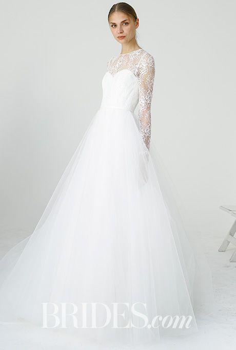 """Brides.com: . """"Myra"""" Chantilly lace bodice with long sleeves and soft tulle ball gown, Amsale"""