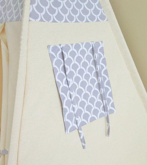 Modern Slate Bekko Natural Canvas Play Tent Teepee by AshleyGabby