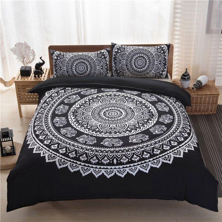 hotsale 3pcs indian mandala hippie polyester king size bedding pillowcases quilt cover set online