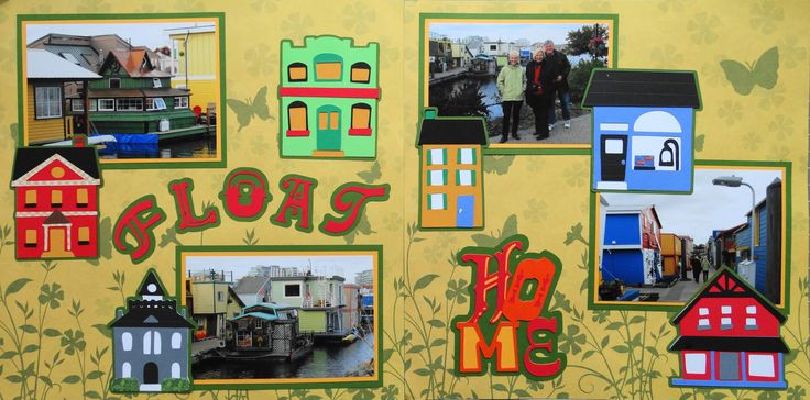 Scrapbook Page - Float Homes in Victoria, BC- 2 page road trip layout with houses - from Travel Album 1