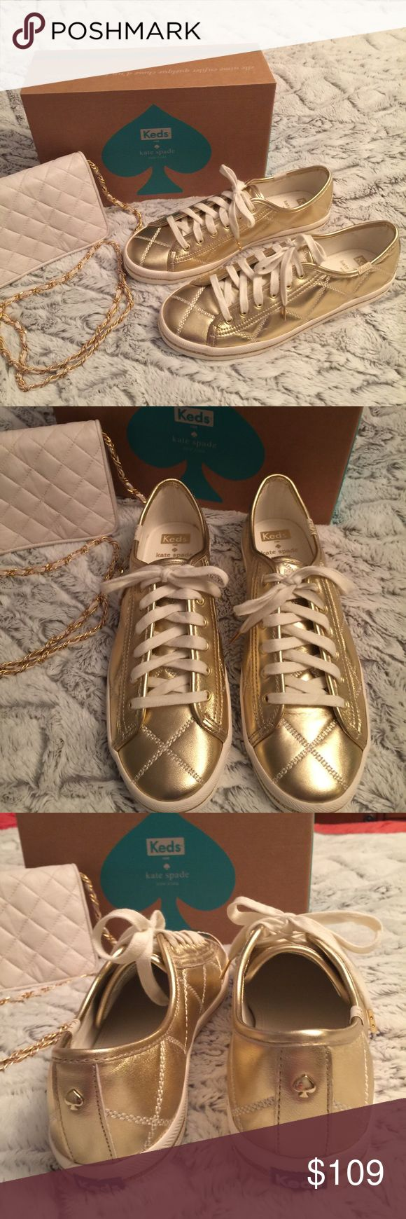 Kate Spade Quilted Leather Keds Super cute gold keds by Kate Spade. Adorable with jeans shorts and even your summer dresses. kate spade Shoes Athletic Shoes