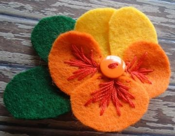 Yellow and Orange Felt Flower Pansy by LizabethDezigns