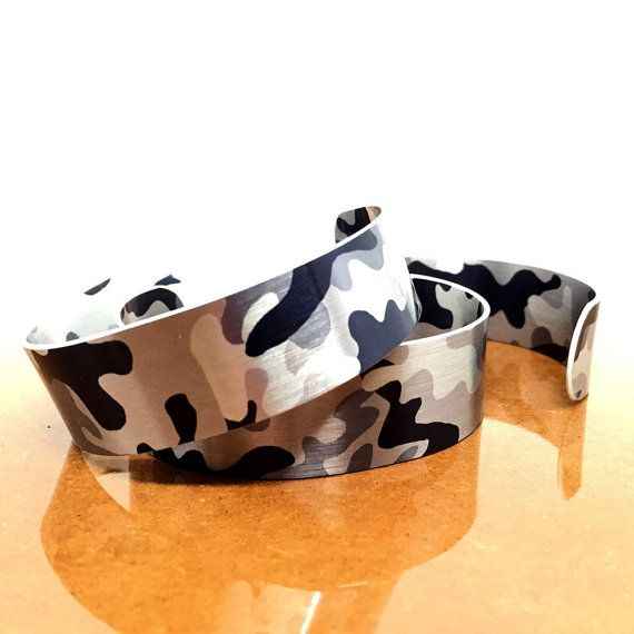 Teen Valentines Gifts - Camo Jewelry - Teen Girl Jewelry - Adjustable Bangle Bracelet - Aluminum Bracelet - Bold Jewelry - Sku TR-006