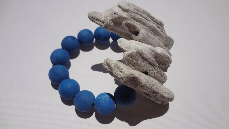 Blue Beaded Bracelet Women Jewelry Big Natural Wood Summer Beachwear Lightweight Thick Fashion Girl Handmade Handcrafted Greek Style by ArtArgo on Etsy