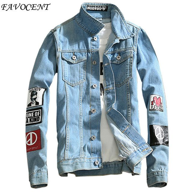 Deals $22.47, Buy FAVOCENT 2017 spring new Top Quality Denim Jackets Men Hip Hop Clothing long sleeve Street wear Jeans Jackets Free shipping 5XL