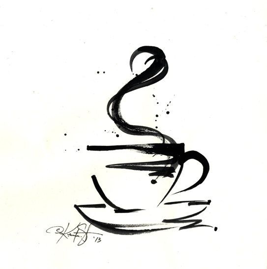 Brushstroke Coffee Cup ... Series No.4 ... Original Abstract Minimalist  Painting by Kathy Morton Stanion EBSQ