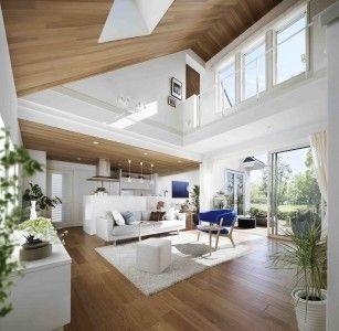 天井高6mの大空間。勾配天井の中央部分にあるトップライト(天窓)から、明るく気持ちよい自然光が降り注ぎます