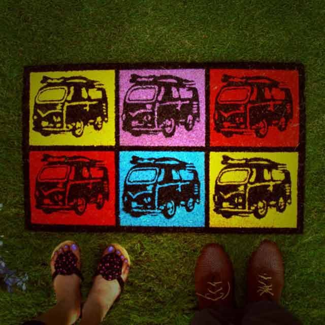 #Vintage Van #Doormat: #Oomph  Vibrant colors to give your house a bright and happy look.