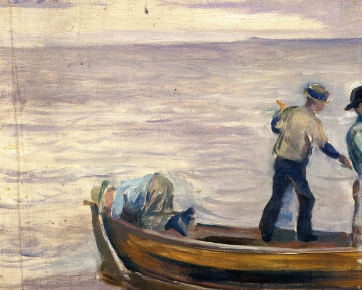 Boat with Three Boys.c.1886 by Edvard Munch                                                                                                                                                                                 Mais