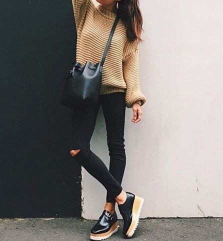 camel knit sweater, black distressed skinny jeans, platform shoes, black bucket…