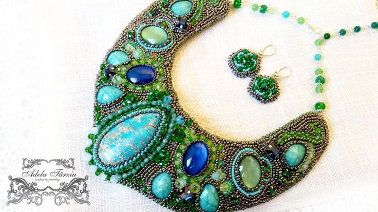 ♥ Colier statement in nuante de verde ♥ de unicdesign