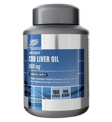 Boots Pharmaceuticals Boots Cod Liver Oil 1000 mg 6 Months Supply 180 20 Advantage card points. Boots Cod Liver Oil 1000 mg 6 Months Supply 180 capsules contains the highest strength of cod liver oil and helps maintain healthy bones and muscles FREE Delivery on orders o http://www.MightGet.com/april-2017-1/boots-pharmaceuticals-boots-cod-liver-oil-1000-mg-6-months-supply-180.asp