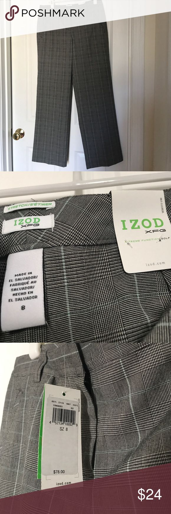 "NWT Ladies Golf Trousers Glen Plaid Size 8 From my Charleston closet, these are beautiful ""dressy"" golf trousers by IZOD. Mid-rise, full straight leg, with stretch. These would look great either on or off the golf course! Dark gray/black glen plaid with very pale blue-grey in the pattern. These are brand new with tags. Length is 30 ½"". Izod Pants Straight Leg"