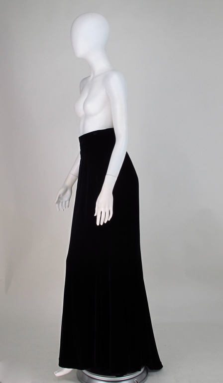 Ungaro black velvet fish tail hem maxi skirt image 6