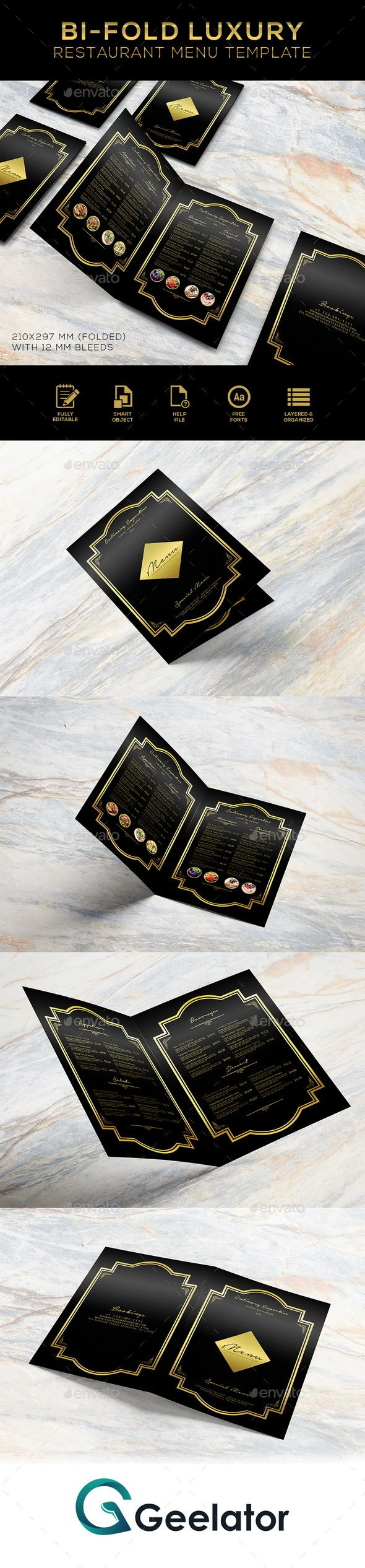 Bi-Fold Luxury Restaurant Menu Template - #fastfood #truckfood #streetfood #food #restaurant #delicious #shop #seafood #gourmet #luxury #menu #foodmenu #brochure #brochuremenu #eat #dinner #breakfast #lunch #homemade #cafe #pub #bar #restaurantdesign #restaurantmenu #salad #appetizer #nusantara #rendang #indonesia #saltbae