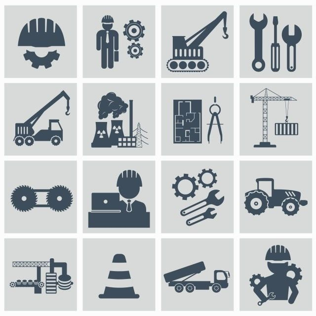 Engineering Icon Set Engineer Construction Equipment Machine