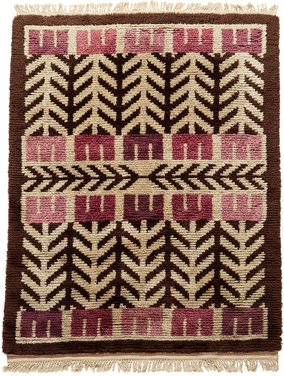 Anonymous; Hand-Knotted Wool Rya Rug, c1950s.