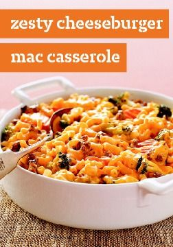Zesty Cheeseburger Mac Casserole – this casserole's like having a cheeseburger, mac & cheese, and a big helping of vegetables—all in one tasty dish!