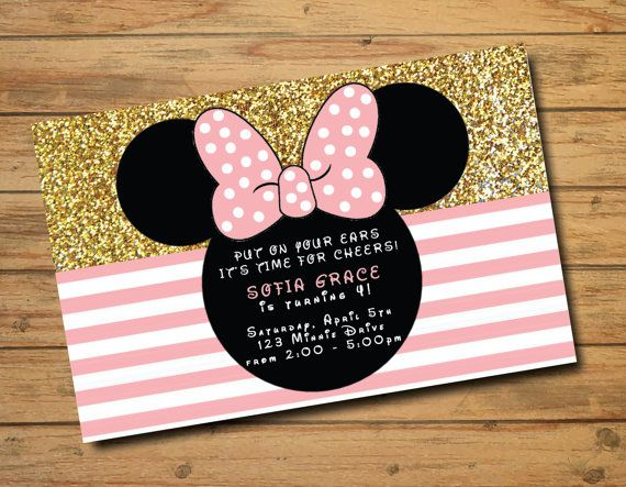 Minnie Mouse Birthday Invitations   Polka Dots   Gold and Pink   Girl Birthday Invites   Oh Two-dles   Glitter   Bow   First Birthday