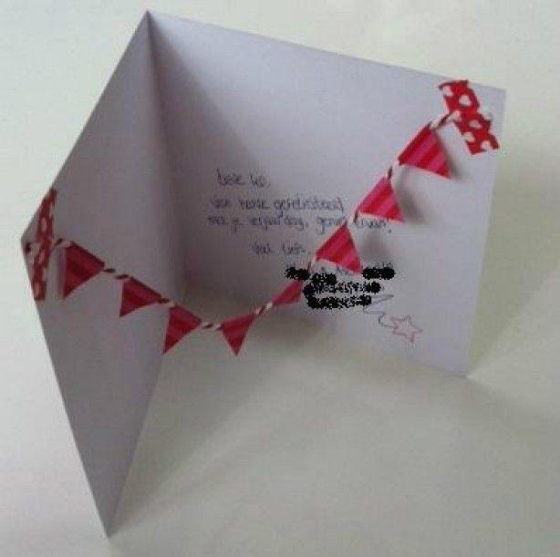 Maak een verjaardagskaart of uitnodiging extra leuk met een zelfgemaakte slinger