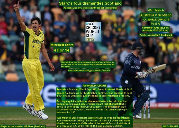 ICC WORLD cUP 2015:  Australia v Scotland, World Cup 2015, Group A, Hobart, March 14, 2015  Starc's four dismantles Scotland