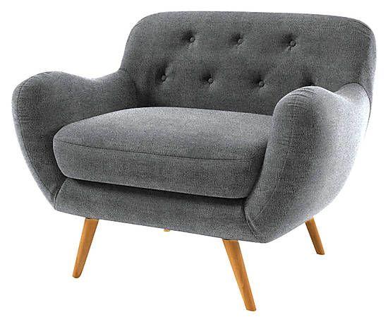 Fauteuil bois massif, gris foncé - 104*84