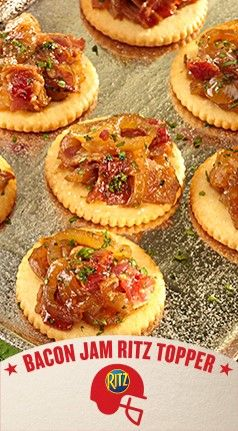 The game-winning flavor  combination of sweet jam and savory bacon on these Bacon Jam RITZ Toppers will score a taste touchdown with your friends and family.  This fun snack recipe takes football tailgate food into new territory.