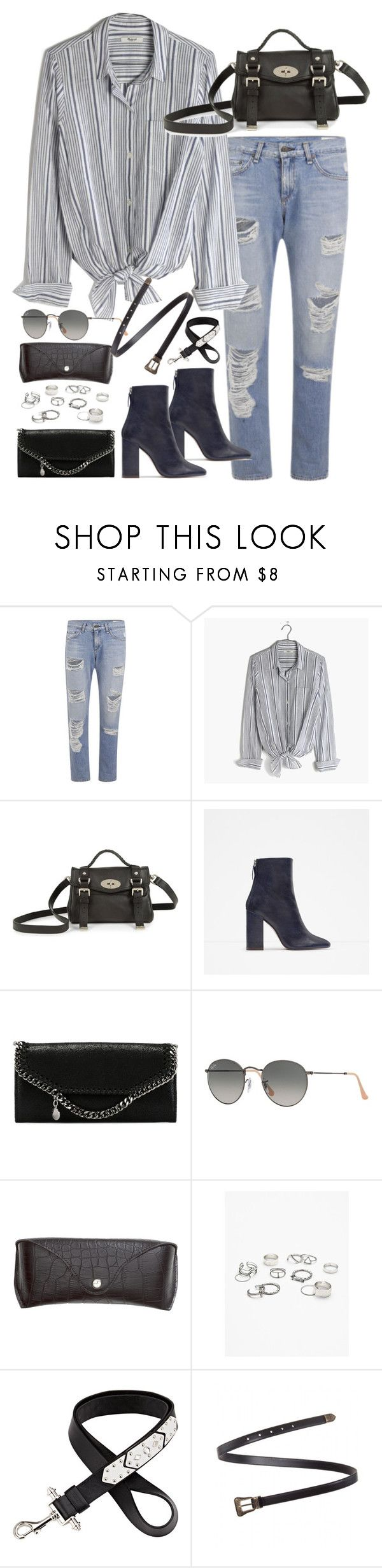 """Untitled#4267"" by fashionnfacts ❤ liked on Polyvore featuring rag & bone, Madewell, Mulberry, Zara, STELLA McCARTNEY, Ray-Ban, H&M, Free People, Givenchy and Yves Saint Laurent"